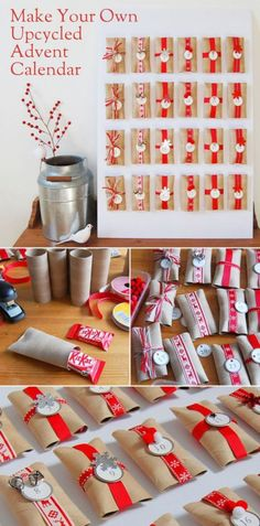 DIY: Upcycled toilet paper roll advent calendar - cute idea for Christmas for de. - DIY: Upcycled toilet paper roll advent calendar – cute idea for Christmas for delaney - All Things Christmas, Holiday Fun, Christmas Holidays, Christmas Decorations, Christmas Writing, Christmas Tables, Nordic Christmas, Modern Christmas, Christmas Stockings