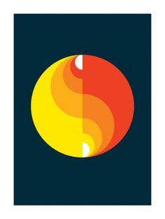 Swiss Roills 2 (Art Print, 2009) // Gary Andrew Clarke. Yellow orange