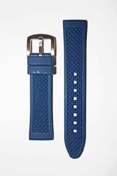 365eafb4a4e 22mm Heavy Blue Rubber Silicone Watchband with Classic Design Discount  Bedding