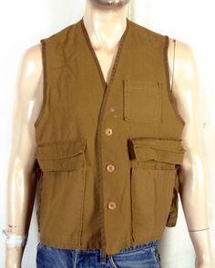 299318f9fccf7 vtg 70s Game Winner Sportswear Men s Canvas Hunting Vest sz L XL Hunting  Vest