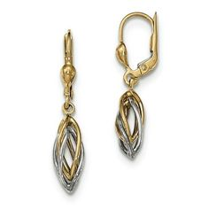 Polished Dangle Leverback Earrings 7x32mm in Genuine 14k Two-Tone Gold