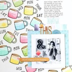 "But first, ☕️! Especially these watercolored stamps c/o @nancydamiano. ""Documenting the every day. That would be coffee and lots of it for me. The little cups are all watercolored and then stamped with texture, flowers, and words. I love this month's stamp set and made it work as a background. TFL!"" – Nancy  This month's Greenhouse stamp kit comes with a 6x8 stamp and an idea booklet! StudioCalico.com > Kits > Stamp ☕️✋ #mysckitishere #stamping #studiocalico"