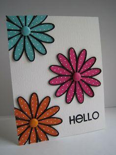 Flowered Hello card - CAS - Memory Box Tilth Floral die - bjl