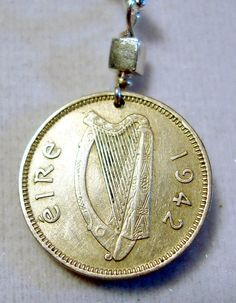 vintage ireland three pence coin pendant, Irish hare and harp.  Drilled with sterling bail.