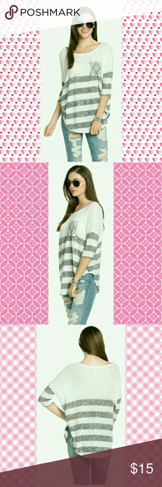 💕💕COMING SOON💕💕STRIPED KNIT POCKET TOP STRIPED KNIT POCKET TOP WITH 3/4 SLEEVE.  MADE IN USA BLOSSOM APPAREL  Tops