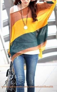Colorful striped off the shoulder top, jeans, tank... relaxed, comfortable