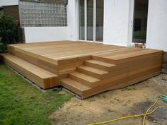 Wooden terrace with steps, # Garden design with pool # Wood terrace Patio Deck Designs, Wooden Terrace, Wooden Decks, Deck With Pergola, House With Porch, Decks And Porches, Building A Deck, Outdoor Furniture Sets, Outdoor Decor