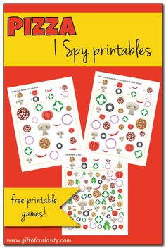 Free printable Pizza I Spy games with three levels of difficulty || Gift of Curiosity
