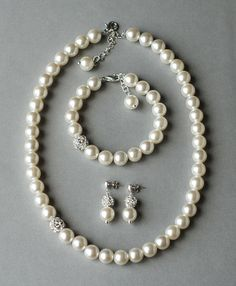 Bridal Pearl Rhinestone Necklace Bracelet Earring by LXdesigns, $68.00