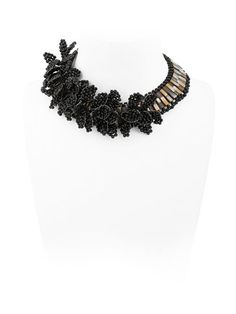LEAVES BLACK NECKLACE