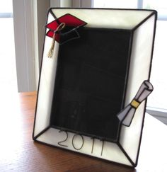 5 x 7 Graduation Stained Glass Picture Frame by hobbymakers, $22.00 Stained Glass Frames, Stained Glass Projects, Stained Glass Patterns, Leaded Glass, Stained Glass Art, Mosaic Glass, Fused Glass, Diy Cristals, Lead Light