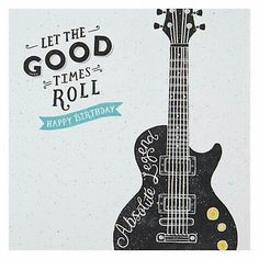 Buy Hotchpotch Guitar Birthday Card, Singles from our Greetings Cards range at John Lewis & Partners. Happy Birthday Male Friend, Happy Birthday Guitar, Happy Birthday Boss, Happy Birthday Images, Happy Birthday Greetings, Boy First Birthday, Birthday Messages, Man Birthday, Birthday Greeting Cards