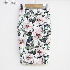 Hermicci 2017 Summer Style Pencil Skirt Women High Waist Green Skirts Vintage Elegant Bodycon Floral Print Midi Skirt  Price: 7.23 USD