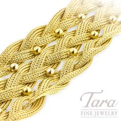 This is your golden opportunity to own a bracelet so stunningly unique, it's as if it came from Cleopatra's personal collection. You will love the intricate weave and beading of this wide bracelet gle Jewelry Companies, Braids, Fine Jewelry, Weaving, Beaded Bracelets, Bohemian, Bling, Yellow, Gold