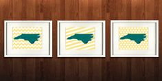Wilmington North Carolina State Set of Three Giclée by PaintedPost, $37.00 #paintedpoststudio - University of North Carolina Wilmington - UNC - Seahawks - What a great and memorable gift for graduation, sorority, hostess, and best friend gifts! Also perfect for dorm decor! :)