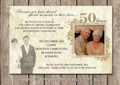 Photo Personalised 50th Wedding Anniversary Invitations - You Print on Etsy, $15.00
