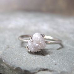 One Carat Rough Diamond Solitaire and 10K White Gold Ring -  Artisan Jewellery - Handmade and Designed by A Second Time