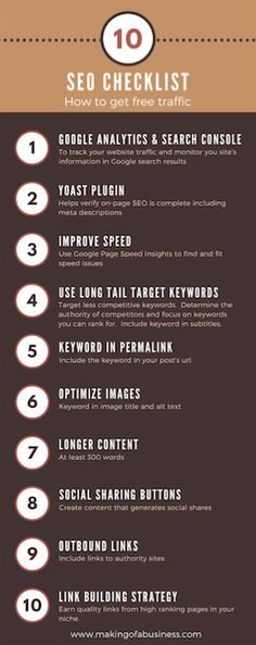 Here's how to get free traffic to your blog. Use this SEO checklist to increase your traffic.