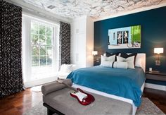 Awesome Blue Teenage Girl Room Design With Elegant Black Curtain Glass Window And Gray Sleeper Sofa And Rug On Wooden Floor Also Wall Lamps Beside Bed Blue Teenage Girl Room Providing Adorable and Delicate Interior http://seekayem.com