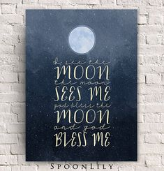 I See the Moon Print - Bless Me - God Bless Me - Night - Moon - Stars - WATERCOLOR Wall Art