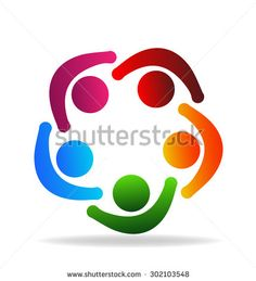 Logo teamwork people holding hands in a circle vector icon