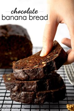 This Chocolate Walnut Banana Bread is so delicious and tender with a chocolatey flavor and wonderful aroma from winter spices. Great as either as breakfast dessert or mid-day snack. Suitable for every day as well as holidays. Chocolate Banana Bread, Chocolate Recipes, Chocolate Desserts, Baking Recipes, Cake Recipes, Dessert Recipes, Just Desserts, Delicious Desserts, Asian Desserts