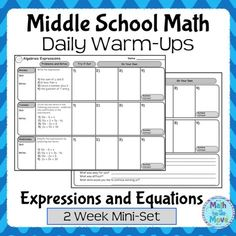 This FREEBIE includes two weeks of daily warm ups, reviewing simplifying expressions and one step equations.