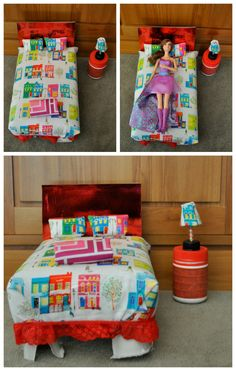 Make a Barbie Bed out of a cereal box