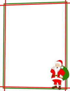 A Christmas page border with Santa Claus in the bottom right corner. Free downloads at http://pageborders.org/download/santa-claus-border/
