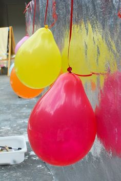 Balloon Painting for Toddlers and lots of other great ideas. Must buy cheap canvases and set up an outdoor painting wall area.