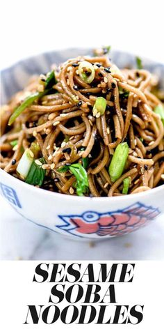 SOBA NOODLES This Japanese Sesame Soba Noodles recipe makes a simple Asian side dish or easy main meal that can be served hot or cold, and is on the table in 20 minutes or less Healthy Recipes, Asian Recipes, Cooking Recipes, Ethnic Recipes, Japanese Vegetarian Recipes, Sesame Recipes, Easy Japanese Recipes, Vegetarian Barbecue, Vegetarian Cooking