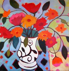 "Daily Painters Abstract Gallery: Contemporary Abstract Still Life Flower Art Painting ""Might As Well Be Fall"" by Santa Fe Artist Annie O'Brien Gonzales"
