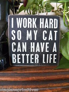 "Pbk Wood Wooden 5"" x 5"" Box Sign ""I Work Hard So My Cat Can Have A Better Life"" 