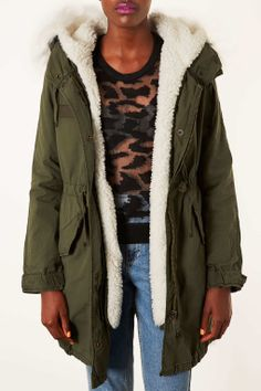 Borg Lined Parka Jacket - Jackets - Clothing - Topshop