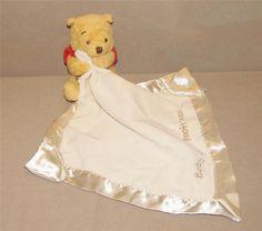 baby 039 s first pooh bear holding cream velour crinkle corner security blanket
