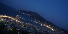 View To Zante Town At Night San Francisco Skyline, Mountains, Night, Nature, Travel, Viajes, Naturaleza, Destinations, Traveling