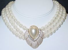 Wedding White Faux Pearl & Crystals Pendant Necklace & Earring Set 3 Strands