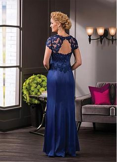 New Jasmine Mother Of The Bride Dresses Royal Blue Short Sleeve Appliques Lace Long Beaded Formal Cocktail Evening Prom Dress Custom Made Mob Dresses, Tea Length Dresses, Sexy Wedding Dresses, Ball Dresses, Ball Gowns, Evening Dresses, Bridesmaid Dresses, Bride Dresses, Prom Dress