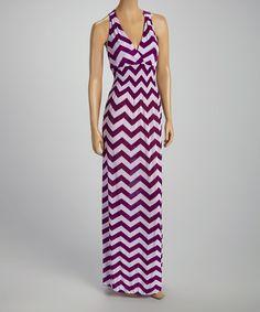 Another great find on #zulily! Purple & White Zigzag Surplice Maxi Dress by India Batik #zulilyfinds