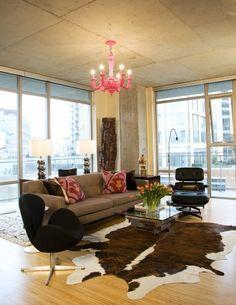 loft living room - modern - living room - love the cowhide Classic Living Room, Living Room Grey, Living Room Modern, Rugs In Living Room, Living Room Designs, Living Room Decor, Living Area, Condo Living, Apartment Living