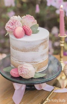 petite naked translucent cake with pink peonies and macarons by the pastry studi. - petite naked translucent cake with pink peonies and macarons by the pastry studio daytona beach - Fancy Cakes, Mini Cakes, Cupcake Cakes, Pretty Cakes, Beautiful Cakes, Nake Cake, Bolos Naked Cake, Peony Cake, Macaron Cake