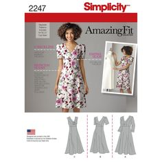 Misses' and Plus Size Amazing Fit dress with individual pattern pieces for B, C, and D cup sizes for Miss or C, D, and DD cup sizes for Plus. Simplicity sewing pattern.