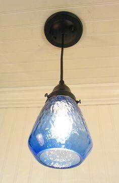 Blue Hill. Transparent Blue PENDANT Light. $49.00, via Etsy.