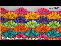 Bello punto de abanicos calados con borde popcorn tejido a crochet - Tejiendo Perú - YouTube