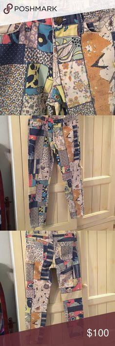 """👖Current/Elliot jeans-BNWT! Current/Elliot jeans, cute """"hippiepatch"""" print, small areas of """"fraying"""" on knees & left thigh, size 30, inseam 27-1/2"""", rise 9""""---BRAND NEW WITH TAGS! Anthropologie Jeans"""