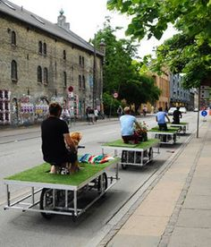 "Park by Swarm. Cool concept to get people to bring ""nature"" with them, even in the city. By Tim Wolfer and John Bela. Bauhaus, Urban Intervention, Pocket Park, Sustainable City, Public Seating, Urban Park, Smart City, Urban Furniture, Urban Life"