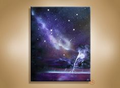Spray Paint Art - Lightning Storm Painting