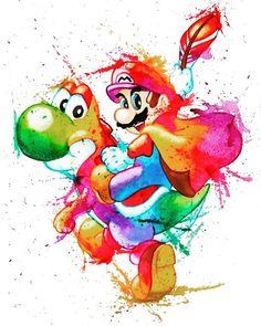 Cool watercolour artwork of Mario and Yoshi ☺ Super Mario Art, Super Mario World, Super Mario Tattoo, Mario Fan Art, Yoshi, Nintendo Characters, Super Mario Brothers, Desenho Tattoo, Mario Party