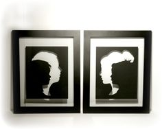 Mothers Day Gift Idea - Cut Paper Double Silhouette 8x10 - Black and White Home Decor - Unframed Modern Wall Art. $15.00, via Etsy.