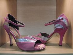 Item Asia, Sole Vero Cuoio, Materials Suede, Glitter fabric, Toe Open, Back Closed, Colors pink&silver, Heel Shape Flared